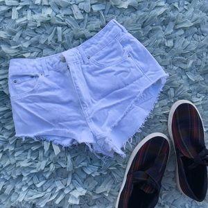 TOPSHOP moto kiri white denim shorts